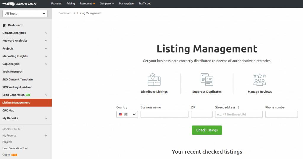 Semrush Listing Management Tool