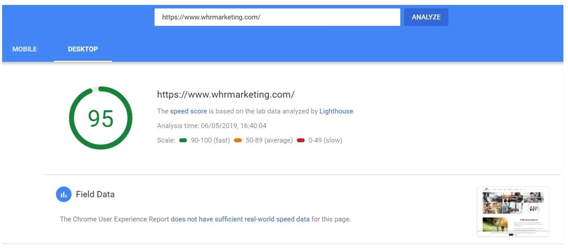 95 Google Page Speed After Using SiteGround