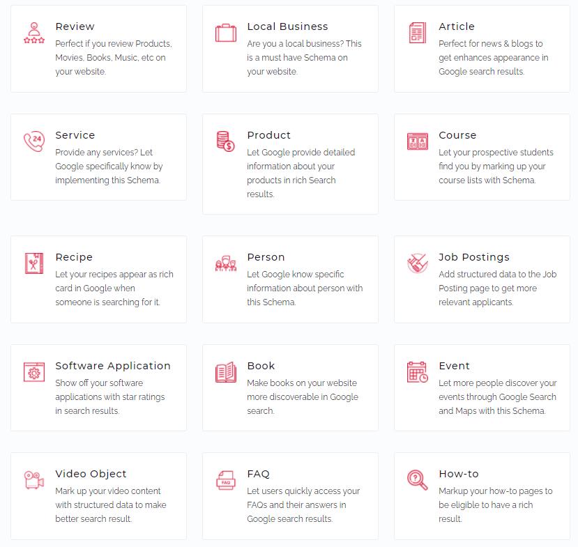 Schema Pro Supported Schema Types
