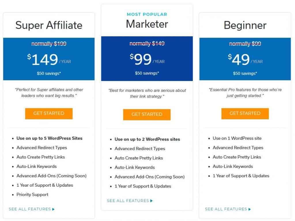 Pretty Links Pricing