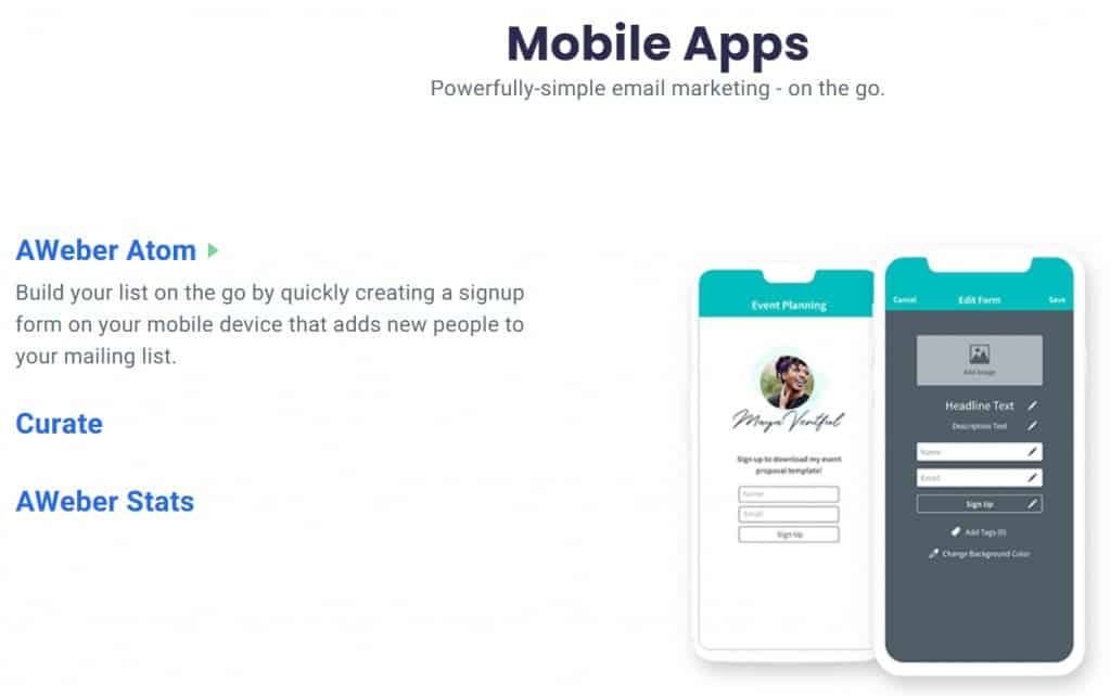 Aweber Mobile Apps
