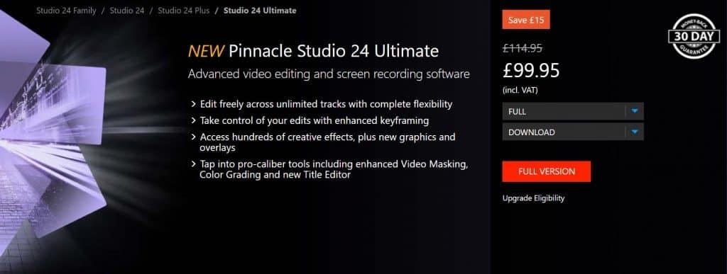 Pinnacle Studio Pricing